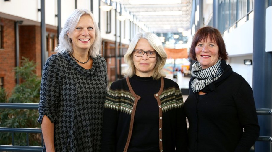Veslemøy Rabe, manager at the Faculty of Health and Sport Sciences (left), associate professor Elin Thygesen at the Department of Health and Nursing Science, and project leader Ragni Macqueen Leifson at the Centre for E-health and Care Technology. (Photo: Walter Wehus)