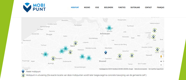 The mobipunt website includes an interactive map that shows mobipunte (mobility hubs) that have been implemented and those that are in planning.