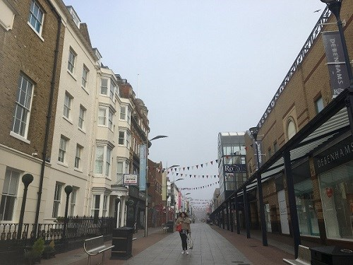 Southend-on-Sea's High Street in the morning fog