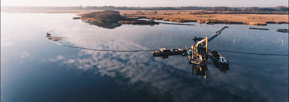 Aerial picture of construction work at Hickling Broad